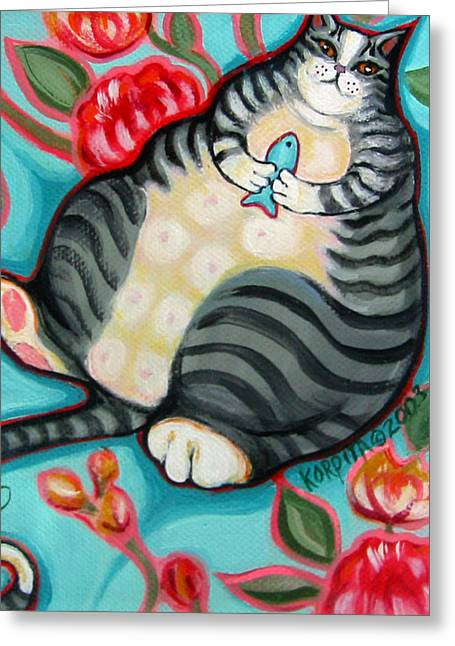 Tabby Cat On A Cushion Greeting Card by Rebecca Korpita