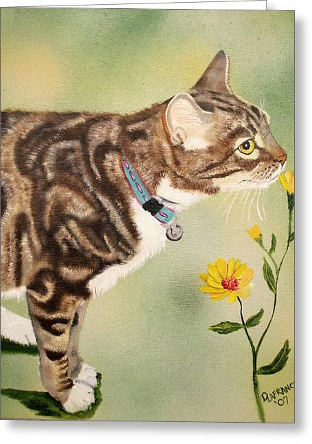 Tabby Greeting Card by Debbie LaFrance
