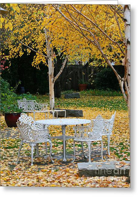 Table And Chairs Greeting Card by J. Christopher Briscoe