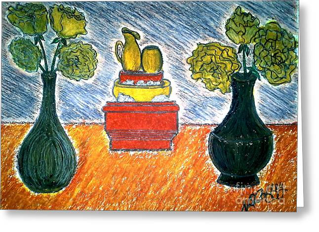 Table And Vases Greeting Card by Neil Stuart Coffey
