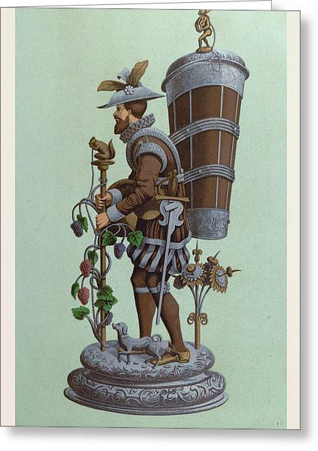 Table Centrepiece, Surtout De Table, Depicting A Man Greeting Card by English School