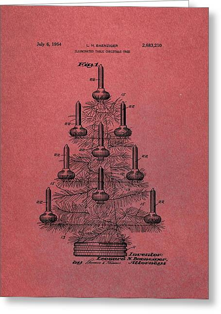 Table Christmas Tree Patent Red Greeting Card