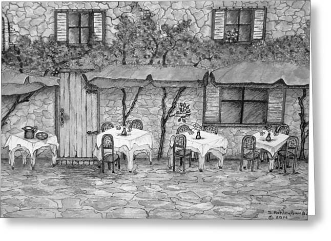 Table For Three Black And White Greeting Card by Ashley Goforth
