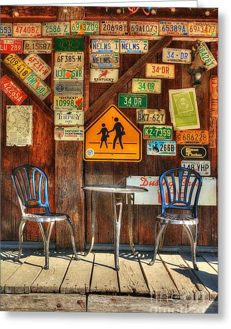 Table For Two Greeting Card by Mel Steinhauer