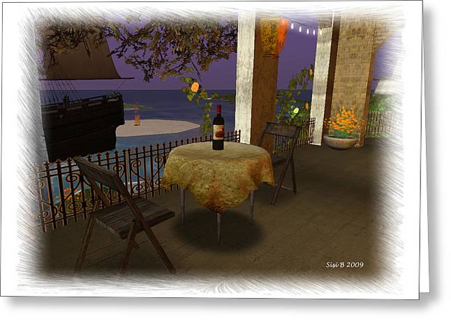 Greeting Card featuring the digital art Table For Two by Susanne Baumann
