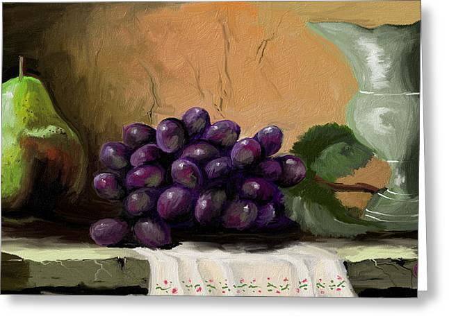Table Grapes Greeting Card by Sandra Aguirre