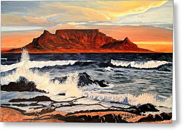 Greeting Card featuring the painting Table Mountain At Sunset by Hilda and Jose Garrancho
