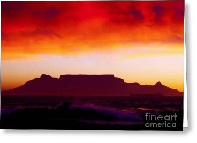 Table Mountain Fire Painting Greeting Card