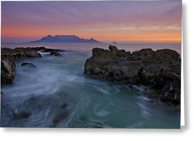 Table Mountain Sunset Greeting Card by Aaron Bedell