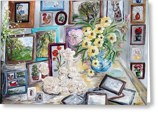 Table Of An Art Enthusiast Greeting Card by Eloise Schneider
