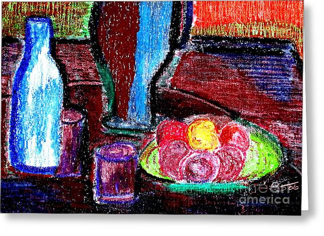 Greeting Card featuring the pastel Table On Rue Cadet by Bill OConnor