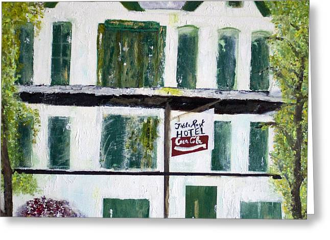 Greeting Card featuring the painting Table Rock Hotel by Aleezah Selinger