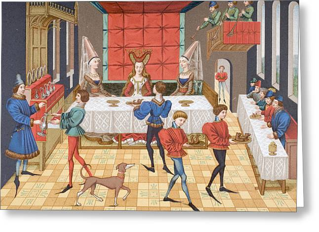 Table Service Of A Lady Of Quality, After A 15th Century Miniature In Romance Of Renaud De Greeting Card