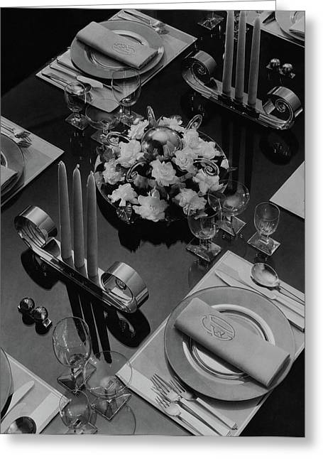 Table Setting Greeting Card by Eugene Hutchinson