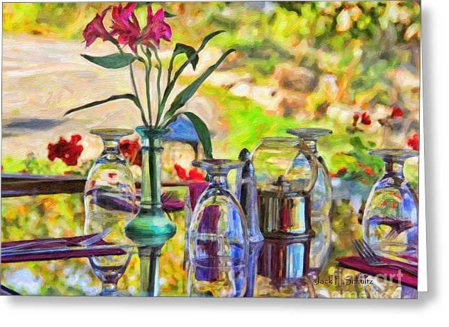 Table Setting Reflections Greeting Card by Jack Schultz
