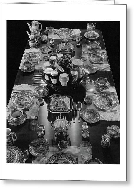 Table Settings On Dining Table Greeting Card