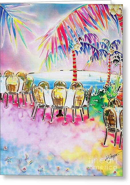 Tables On The Beach Greeting Card