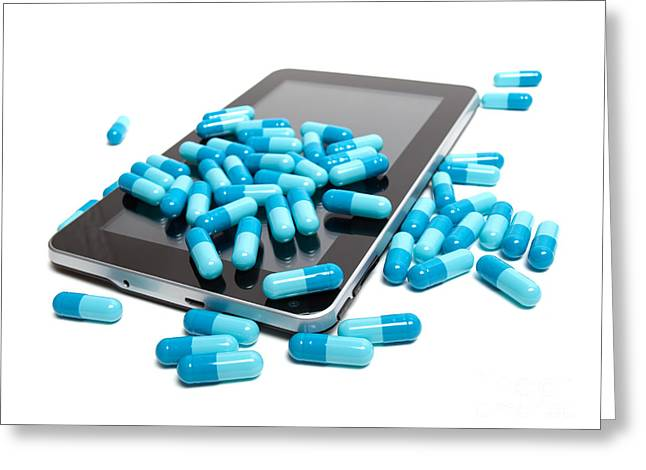 Tablet And Pills Greeting Card