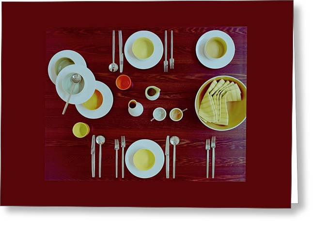 Tableware Set On A Wooden Table Greeting Card by Romulo Yanes