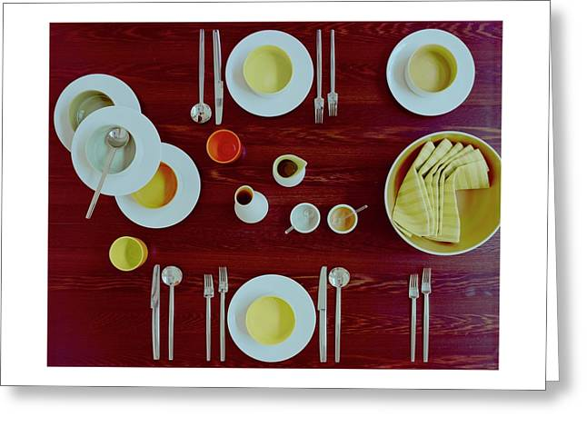 Tableware Set On A Wooden Table Greeting Card