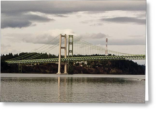 Tacoma Narrows Bridge II Greeting Card by Ron Roberts