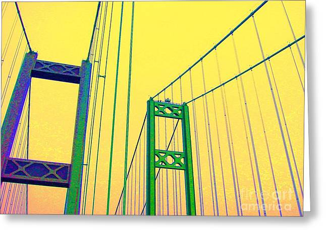 Greeting Card featuring the photograph Tacoma Narrows Yellow by Ann Johndro-Collins