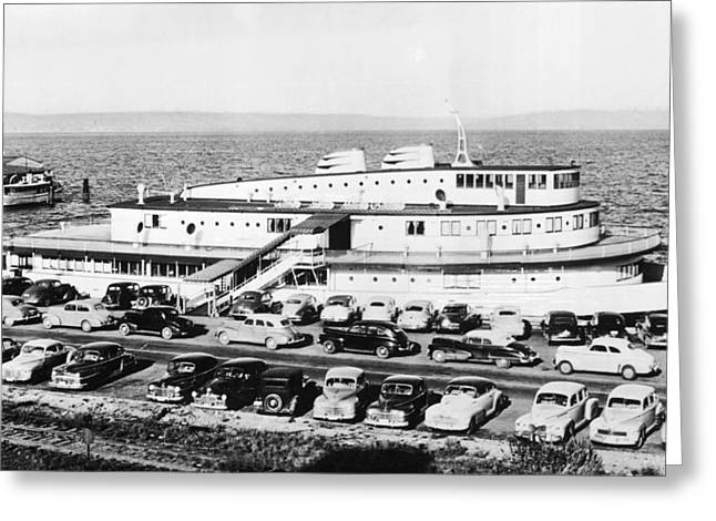 Tacoma Ship Restaurant Greeting Card by Underwood Archives