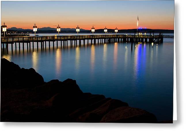 Tacoma Sunset Greeting Card by Bob Noble Photography