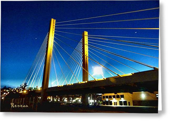 Tacoma W A Cable Stayed Bridge Greeting Card by Sadie Reneau
