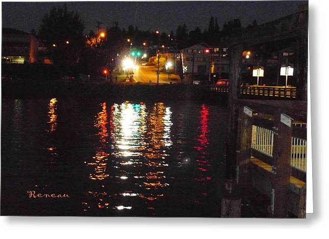 Tacoma Waterfront At Night On Ruston Way Greeting Card by Sadie Reneau