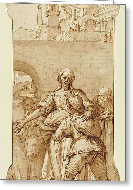Taddeo At The Entrance To Rome Greeted By Toil, Servitude Greeting Card by Litz Collection