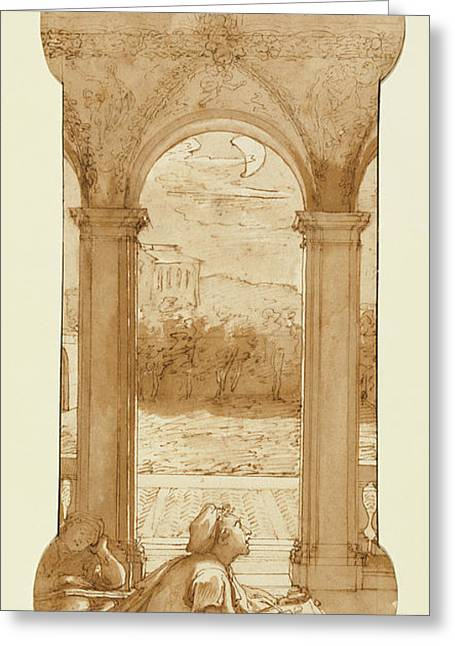 Taddeo Copying Raphaels Frescoes In The Loggia Of The Villa Greeting Card by Litz Collection