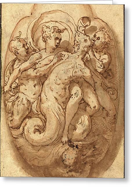 Taddeo Zuccaro, Italian 1529-1566, Mythological Figures Greeting Card