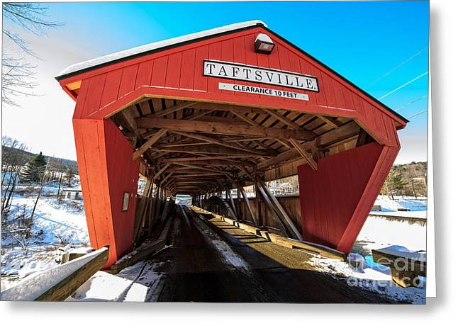 Taftsville Covered Bridge In Vermont In Winter Greeting Card