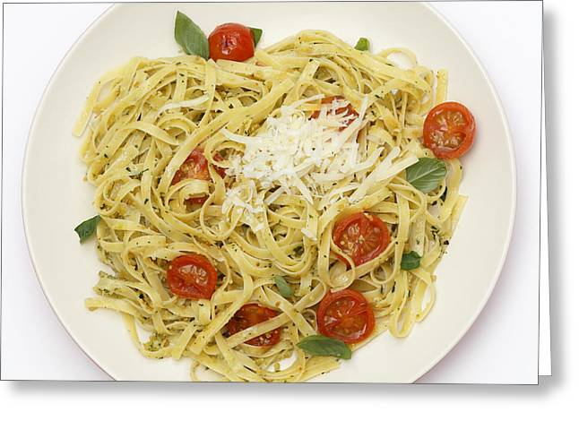 Tagliatelle With Pesto And Tomatoes From Above Greeting Card by Paul Cowan