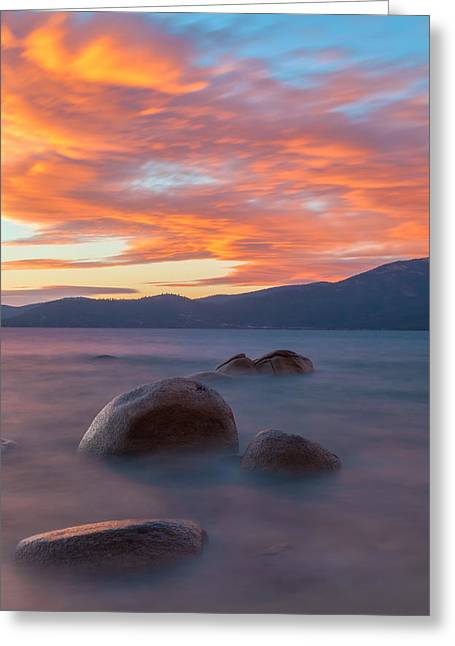 Tahoe Burning Greeting Card by Jonathan Nguyen