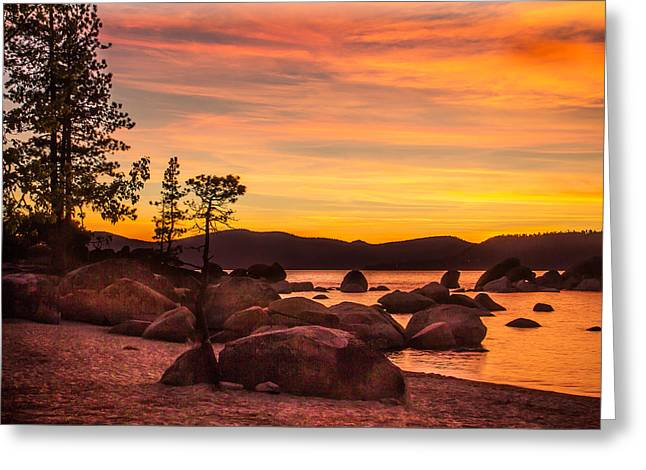 Greeting Card featuring the photograph Tahoe Golden Sunset by Steven Bateson