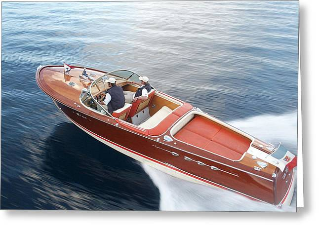 Tahoe Riva Runabout Aerial Greeting Card