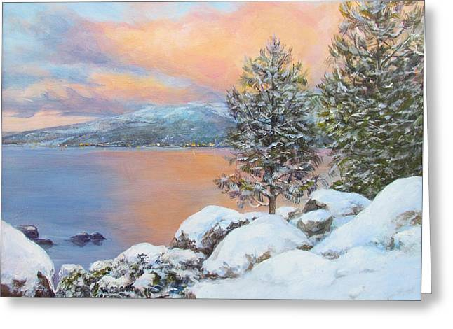 Tahoe Winter Colors Greeting Card by Donna Tucker