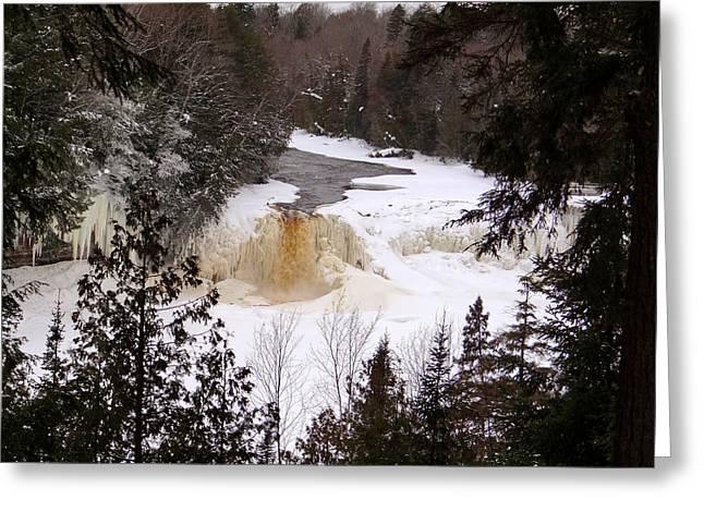 Tahquamenon Falls In Winter Greeting Card