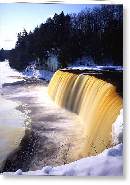 Tahquamenon Falls Greeting Card by Ray Mathis