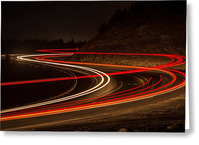 Tail Light Trails Greeting Card by Joe Hudspeth