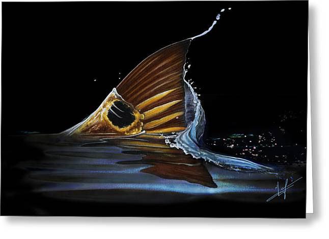 Tailing Redfish Greeting Card by Nick Laferriere