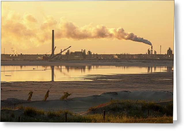 Tailings Pond At A Tar Sands Mine Greeting Card by Ashley Cooper