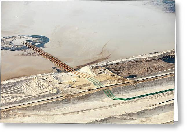 Tailings Pond At Syncrude Mine Greeting Card by Ashley Cooper