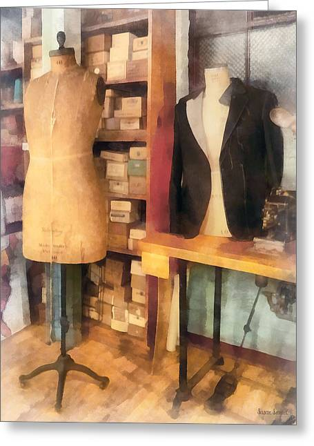 Tailor - A Pair Of Dummies Greeting Card by Susan Savad