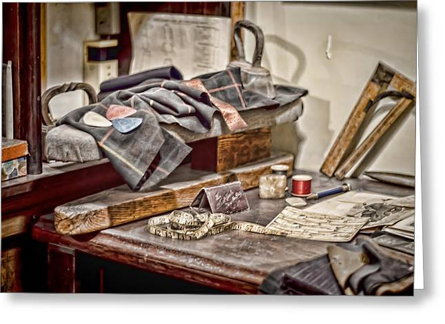 Tailors Work Bench Greeting Card by Heather Applegate