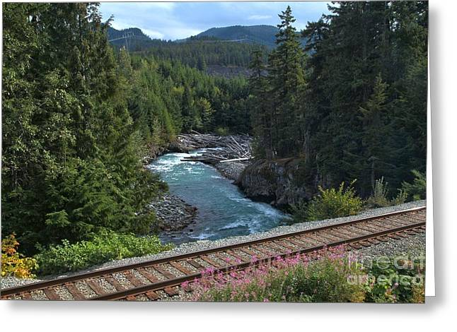 Train Tracks By The Cheakamus River Greeting Card