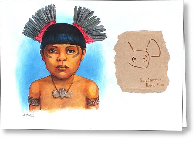 Taino Boy Greeting Card by Alejandra Baiz