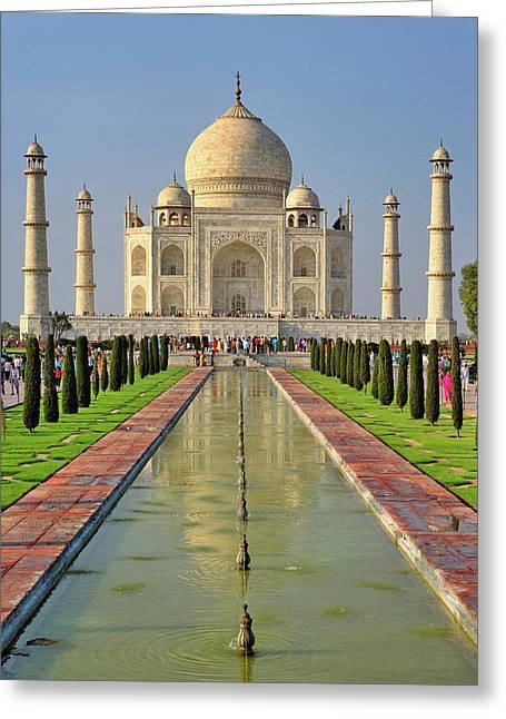 Taj Mahal, A Mausoleum Located In Agra Greeting Card by Adam Jones